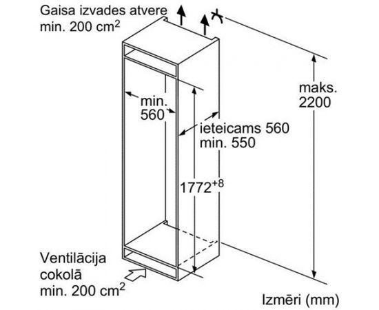 BOSCH KIS87AF30 ledusskapis ar saldētavu - iebūvējams, 178 cm DD