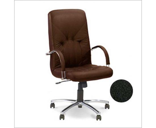 Biroja krēsls NOWY STYL MANAGER STEEL Chrome melna āda SP-A
