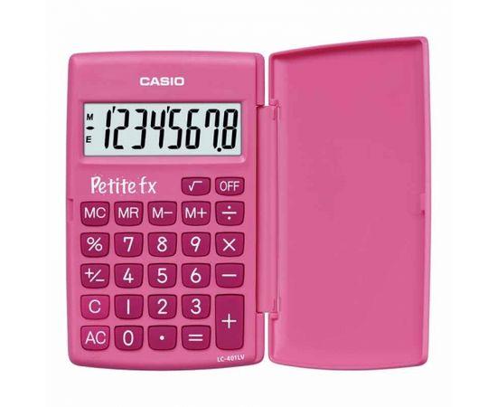 Skolas kalkulators CASIO LC-401, 120 x 152 x 7 mm, rozā