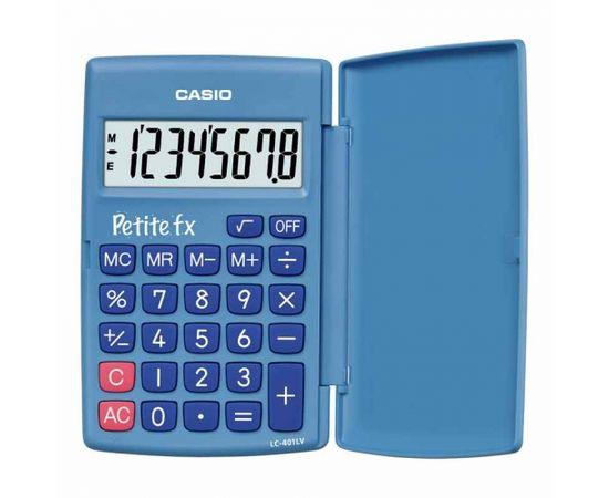 Skolas kalkulators CASIO LC-401, 120 x 152 x 7 mm, zils