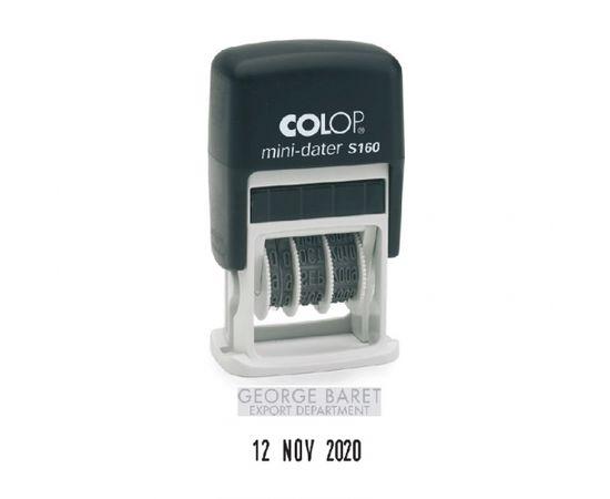 Zīmogs S160 Dater D03 COLOP melns korpuss, bezkrāsas spilventiņš, datuma formāts DD.MM.YYYY (mēnesis vārdiem, angliski)