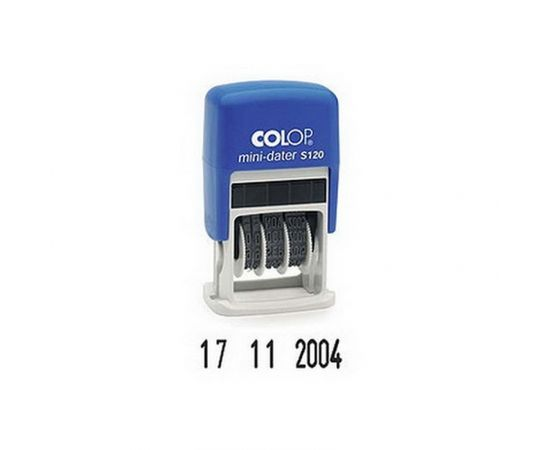 Zīmogs COLOP Datumu numerators S120 Mini-Dater 03(ciparu DD. MM. YYYY), melns spilventiņš