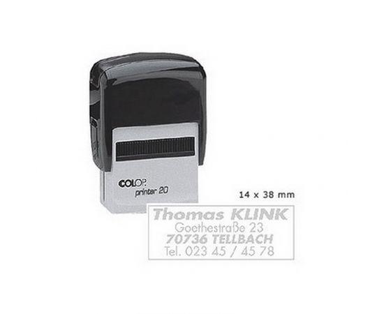 Zīmogs COLOP Printer C20, melns korpuss, bez krāsas spilventiņš
