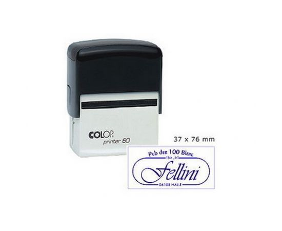 Zīmogs COLOP Printer 60, melns korpuss, zils spilventiņš
