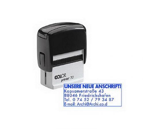 Zīmogs COLOP Printer 30, melns korpuss, zils spilventiņš