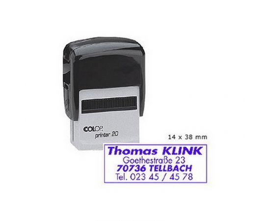 Zīmogs COLOP Printer 20, melns korpuss, zils spilventiņš