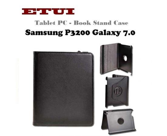 Etui Eko ādas maks ar rotējošu statīva mehānismu priekš Samsung P3200 Galaxy 7.0 Melns