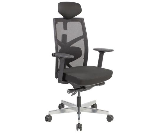 (Ir veikalā) Biroja krēsls TUNE 70x70xH111-128cm, sēdeklis: audums, atzveltne: siets, krāsa: melna