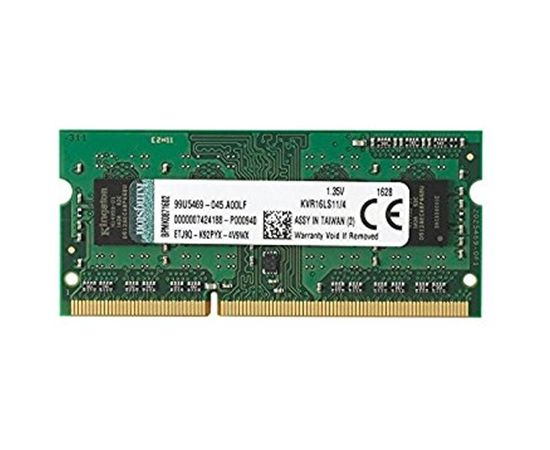 Kingston 4 GB, DDR3L, 204-pin SODIMM, 1600 MHz, Memory voltage 1.35 V, ECC No, Registered No
