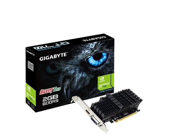 Gigabyte Low Profile NVIDIA, 2 GB, GeForce GT 710, GDDR5, PCI Express 2.0, Processor frequency 954 MHz, Memory clock speed 5010 MHz, HDMI ports quantity 1