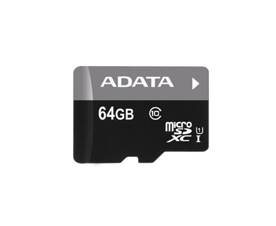 ADATA Premier UHS-I 64 GB, MicroSDXC, Flash memory class 10, SD adapter (Ir veikalā)