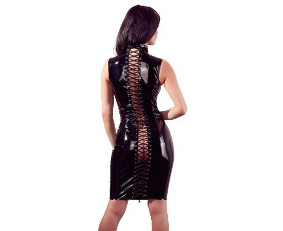 Black Level melna lakādas kleita ar dekoratīvu šņorējumu [ S ]