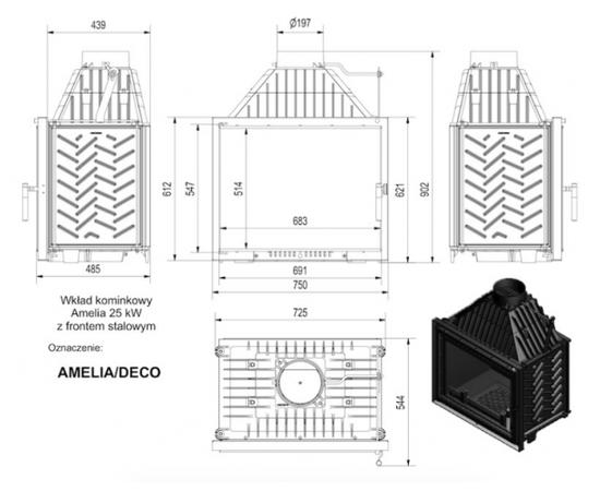 Kratki AMELIA 25kW Deco (ar rāmi) kurtuve, kamīns