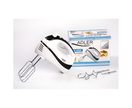 Hand Mixer Adler AD 4205 b White, Black, Hand Mixer, 300 W, Number of speeds 5, Shaft material Stainless steel,