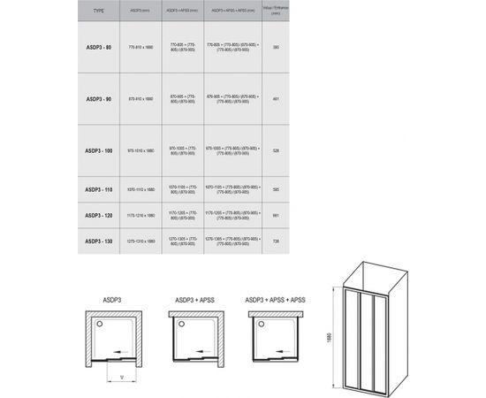 Ravak ASDP3-110 white+polystyrene Pearl Shower doors