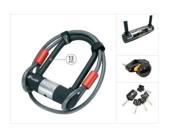 Magnum X4P U-lock mini +cable / Melna