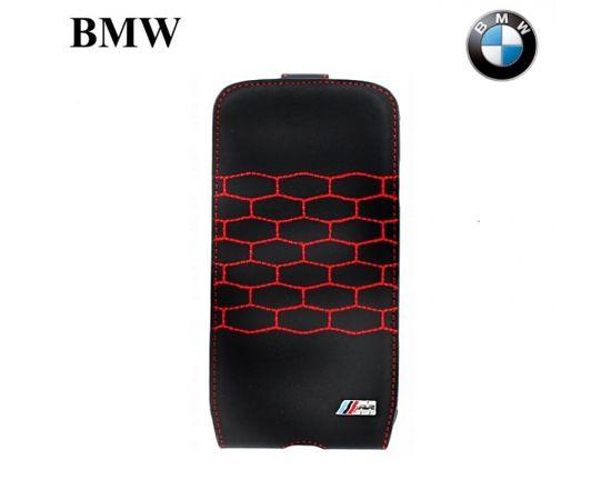 BMW BMFLS4MSR M-Sport Kolekcija Vertikāli atverams Maks Samsung i9500 Galaxy S4 Melns (EU Blister)