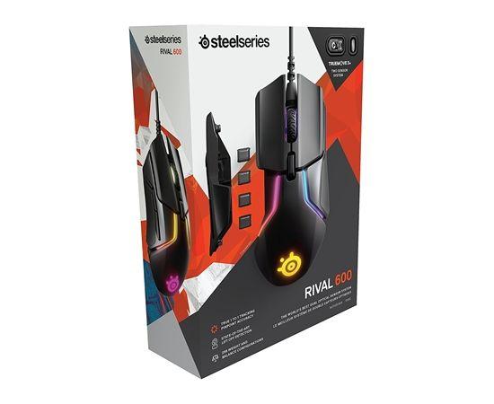 SteelSeries Rival 600 Gaming Mouse SteelSeries Gaming mouse, RGB LED light, Dual system: 1st - TrueMove 3 Optical Sensor 100-12000CPI; 2nd - Optical Depth Sensor;