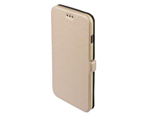 Telone Super plāns sāniski atverams maciņš ar stendu Samsung i9500 Galaxy S4 Zeltains