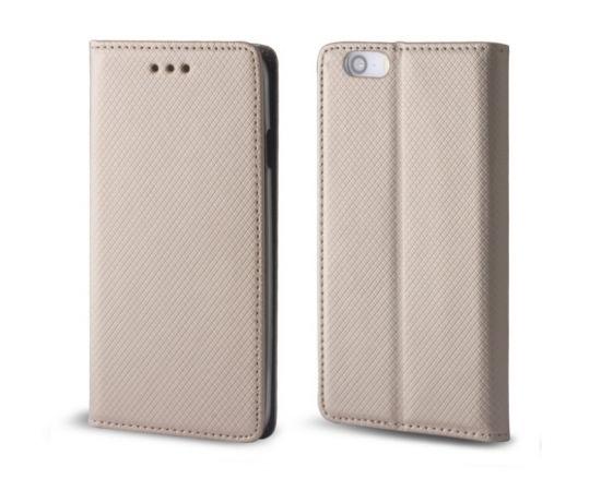 Forever Magnēstikas Fiksācijas Sāniski atverams maks bez klipša LG K520D Stylus 2 Zeltains