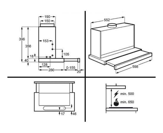 Electrolux EFP60460OX Встроенный 603м³/ч A Нержавеющая сталь кухонная вытяжка