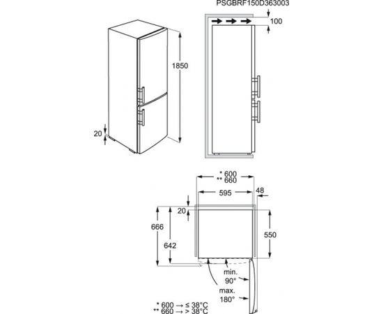 ELECTROLUX EN3601MOX ledusskapis ar saldētavu apakšā, 185cm