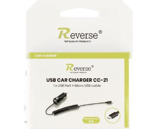 Reverse CC-21 Универсальная 2.1A  Micro USB Проводная 1.2m Авто Зарядка для GPS / Мобильных Телефонов / Планшетов Черная