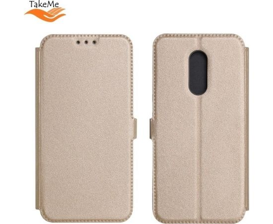 TakeMe Супер тонкий Чехол-книжка со стендом Samsung Galaxy A7 2018 (A750) Золотистый