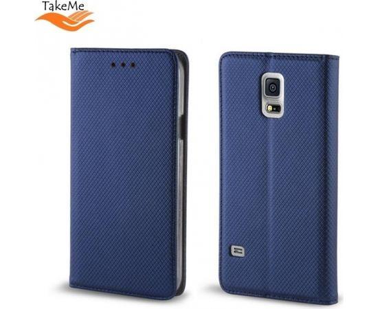 TakeMe Magnēstikas Fiksācijas Sāniski atverams maks bez klipša Samsung Galaxy J4+ 2018 (J415) Tumši Zils