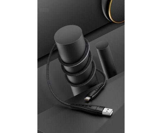 Usams US-SJ250 U11 Neilona Pīts Universāls Type-C uz USB Datu & Ātrās Uzlādes 2A kabelis 1.2m Melns