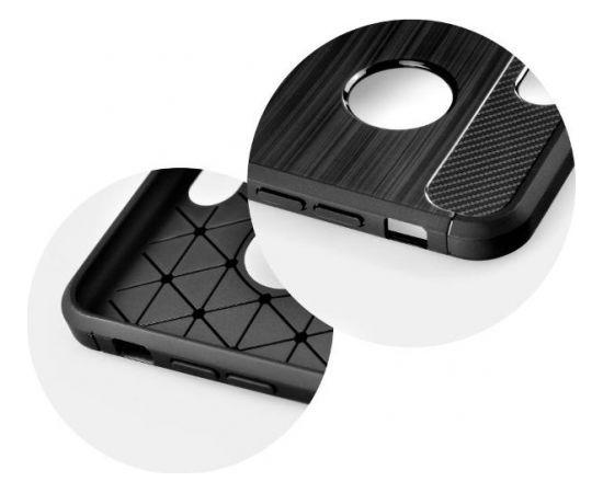 TakeMe TPU plāns aizmugures maks-apvalks ar KARBONA virsmas efektu priekš Apple iPhone Xs Max Melns