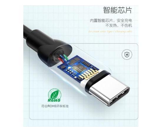 Usams US-SJ246 Izturīgs-Mīksts Universāls Type-C uz USB Datu & Ātrās 2A Uzlādes kabelis 1m Melns