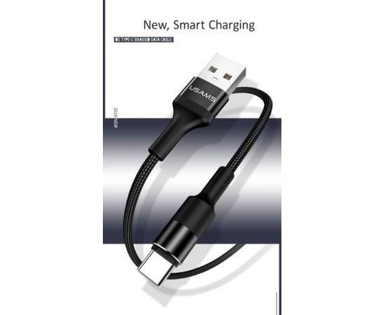 Usams US-SJ221 U5 Pītas Virves USB Type-C Datu & 2A Uzlādes Apaļu Konektoru Kabelis 1.2m Melns (Ir veikalā)