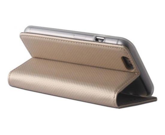TakeMe Magnēstikas Fiksācijas Sāniski atverams maks bez klipša Samsung Galaxy J4+ 2018 (J415) Zeltains