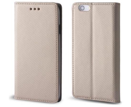 TakeMe Magnēstikas Fiksācijas Sāniski atverams maks bez klipša Samsung A730F Galaxy A7 (2018) / A8 + / Plus (2018) zeltains