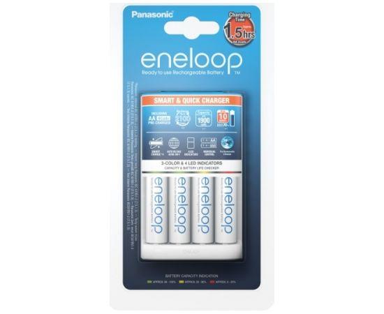 Panasonic Eneloop Battery Charger +  4 x R6/AA  K-KJ55MCC40E Ni-MH, Rapid charging option. Detection of damaged batterie., AA