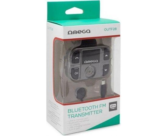 Omega OUTF28 Bluetooth 2.1 + EDR FM Transmitter Priekš Auto Radio / AUX / MIC /+ Uzlādes Ligzda USB 1.5A Melns
