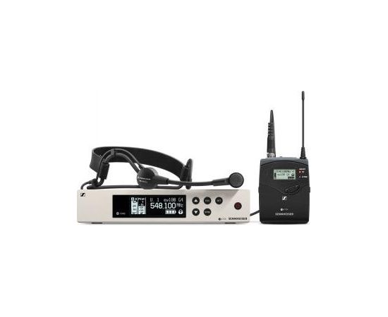 SENNHEISER EW 100 G4-ME3-A HEADMIC SET WITH SK 100 G4 BODYBACK TRANSMITTER, EM 100 G4 RECEIVER, ME 3 HEADSET WITH MICROPHONE, RJ10 CABLE, 2 ROD ANTENNAS, 516-558 MHZ