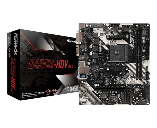 ASRock B450M-HDV R4.0, AM4, DDR4 3200+, 4 SATA3, HDMI, DVI-D, D-Sub