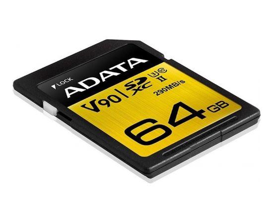 A-data ADATA 64GB Premier ONE SDXC UHS-II U3 Class 10, R/W up to 290/260 MB/s
