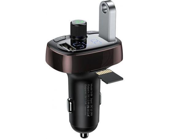 Baseus T-Typed FM Auto Transmitter 3.4A / USB Flash / SD / Bluetooth 4.2 Melns / Violets (Ir veikalā)
