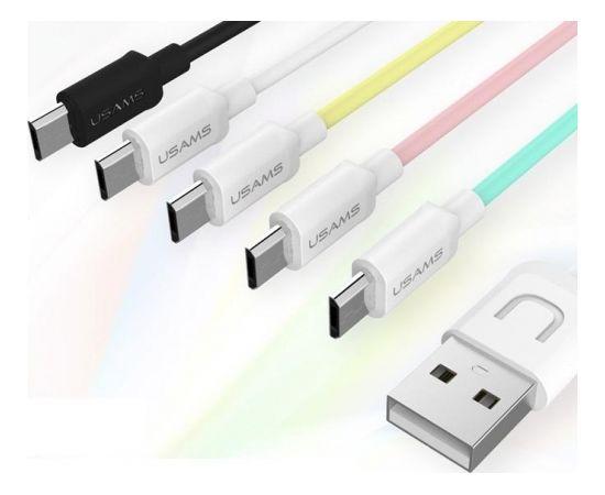 Usams U-TURN Universāls Silikona Micro USB Datu un uzlādes Kabelis 1m Balts