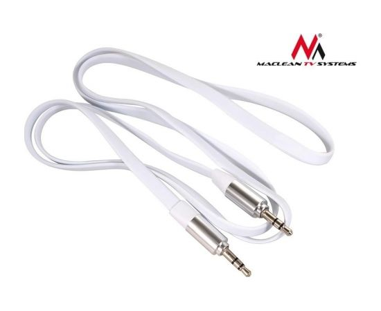 Maclean MCTV-694W Jack Straight Flat Tangle Free Audio Stereo AUX 3.5 mm Cable1m