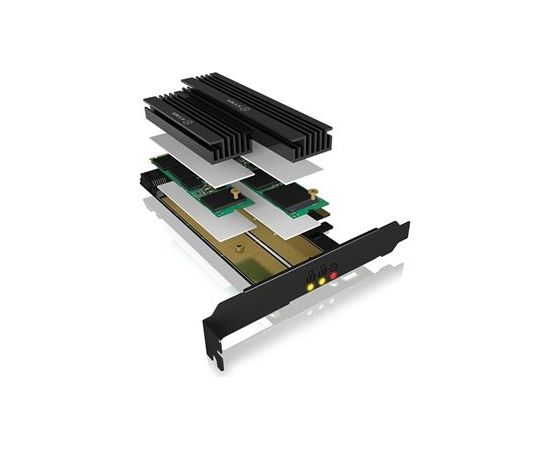 Raidsonic IcyBox PCIe extension card for 2x M.2 SSDs, heat sinks