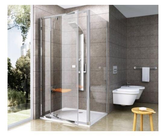 Ravak dušas siena Pivot PPS 80 balta + caurspīdīgs stikls
