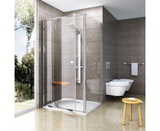 Ravak dušas siena Pivot PPS 80 melns + caurspīdīgs stikls