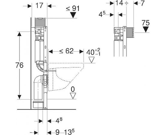 Geberit Duofix Omega WC rāmis H 82cm