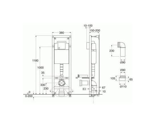 Gustavsberg Triomont XS WC rāmis H 118cm