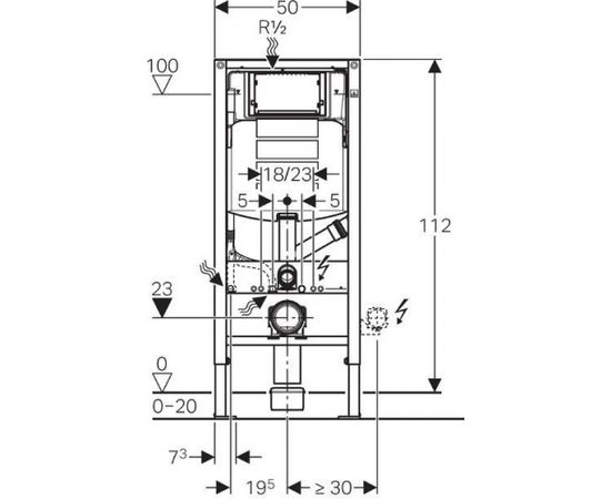 Geberit Sigma WC rāmis ar integrētu DuoFresh funkciju, H 112cm