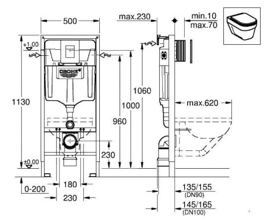 Grohe Rapid SL 3in1 iebūvējamā rāmja komplekts ar hromētu Skate Cosmo tastatūru